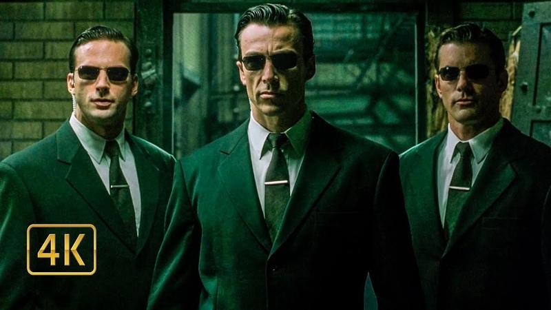 Подарок от Смитта. Нео против трёх агентов. Матрица: Перезагрузка (2003) 4K ULTRA HD