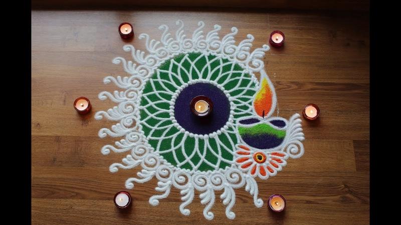 Simple rangoli designs for Diwali with Diya by Shital Daga - Sanskar Bharti rangoli design