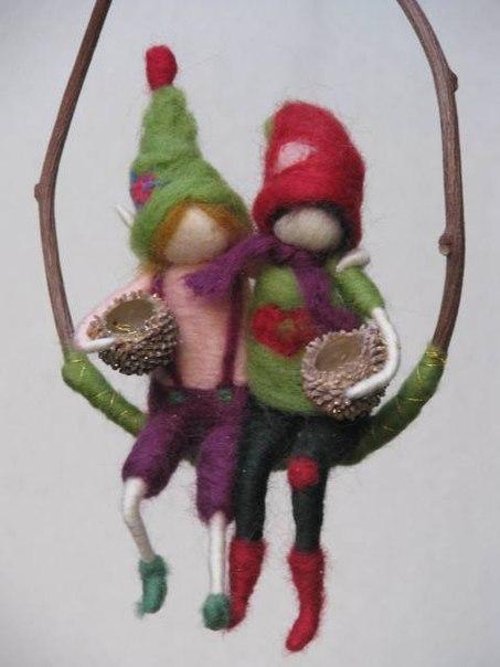 куклы из шерсти, сухое валяние статуэтка, скульптура