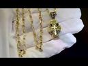 Нательный крестик из жёлтого золота с чернением и бриллиантами на цепочке плетение Бесконечность