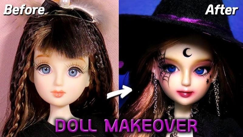 [Doll Repaint] 할로윈 특집🎃 인형을 마녀로 꾸며봤어요! - 30cm 관절인형 리틀마루코 프린세스 리페인팅 Halloween Witch 딩가의 회전목마 (DINGA)