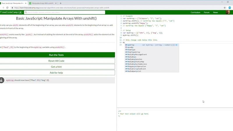 44 107 FCC Basic JavaScript Manipulate Arrays With unshift