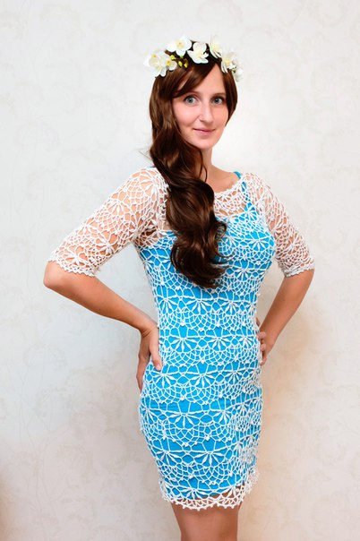 Ажурное платье, связанное крючком из 100 хлопка по чудесной воздушной схеме. Можно одеть как на пляж… (5 фото) - картинка