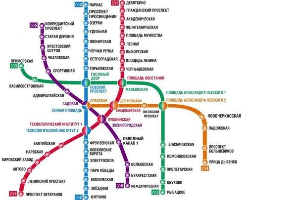 Схема метро СПБ | Интересные