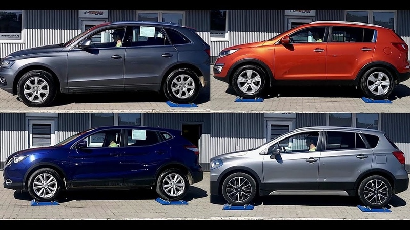 4x4 test on 3 rollers Audi Q5 vs Nissan Qashqai vs Kia Sportage vs Suzuki SX4 S Cross