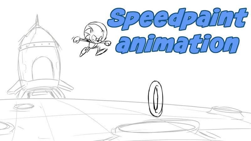Sonic on the Moon speedpaint animation