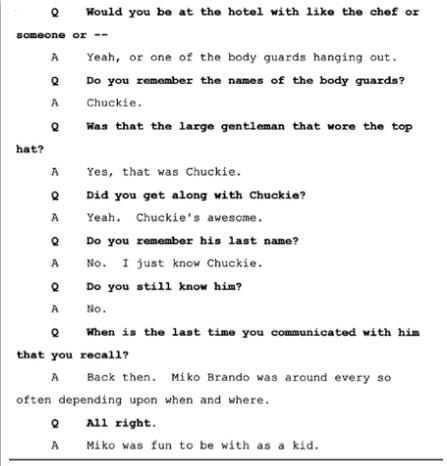 Показания Йоши Уейли, сына Джоли Левин (секретарь MJ)., изображение №4