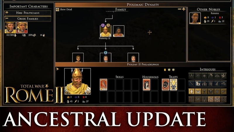 Total War: ROME 2 - Family Tree Graphical Improvements