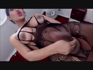 Sexy busty shemale with big ass stroke huge cock and cums