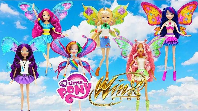 Play Doh MLP Winx Club Twilight Sparkle Rainbow Dash Applejack Pinkie Pie Rarity Fluttershy