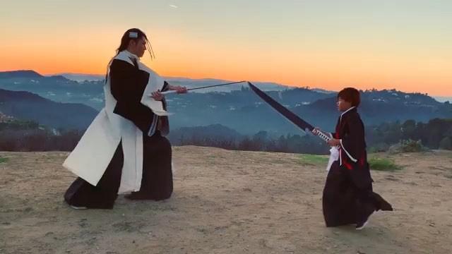 "Miyavi Lee Ishihara on Instagram: ""Shooting a sequel... Repost @melody_lee_ishihara Ichigo vs Byakuya 😂😂😂 BLEACH Halloween 2018"""