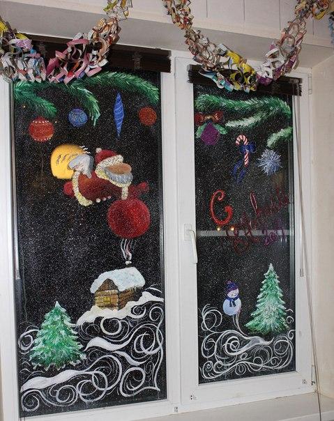 Новогодние узоры на окнах гуашью