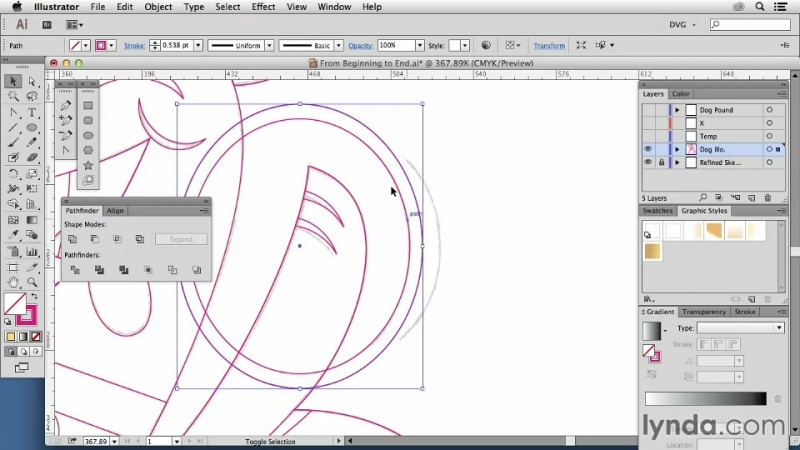 Lynda - Artist At Work - From Sketch To Finished Vector Illustration 03. Building base vector shapes Part two
