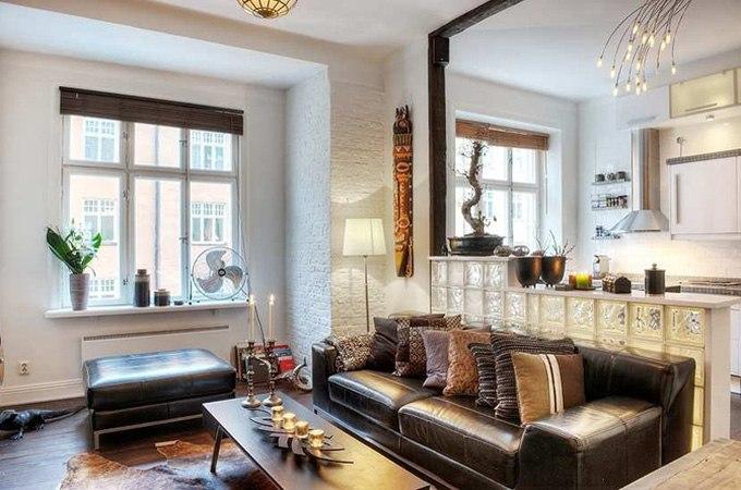 Интерьер квартиры свободной планировки 45 м в Стокгольме / Швеция - http://kvartirastudio.