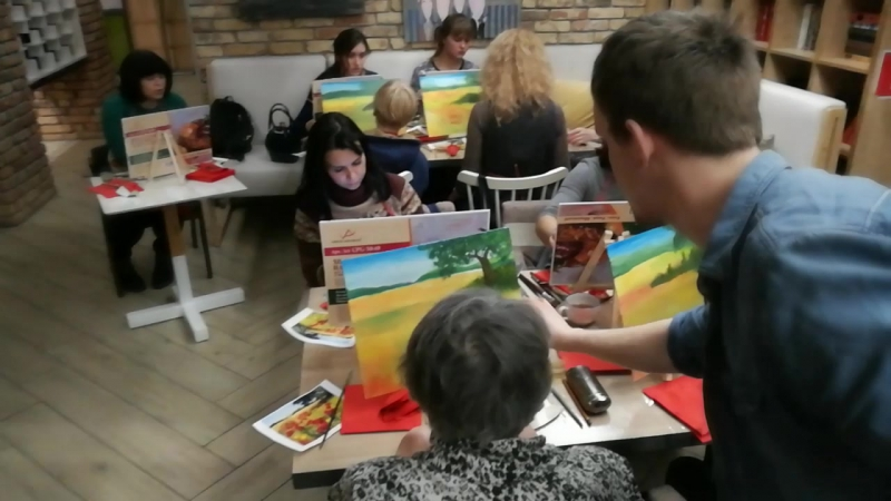 Мастер класс художника Михаила Пищулина в кафе Орион