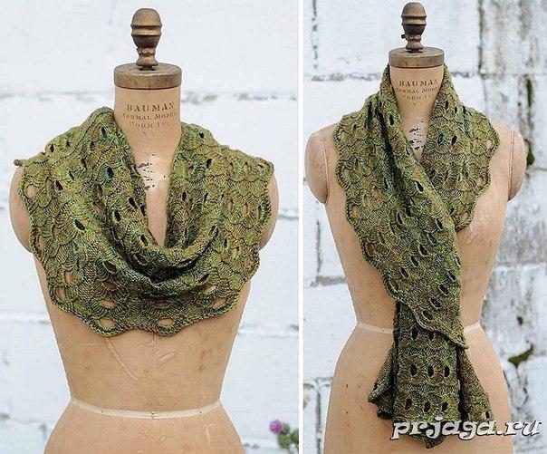 вязание ажурные шарфы описание
