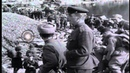 Russian soldiers supervise the unloading of German prisoners of war on East bank Stock Footage