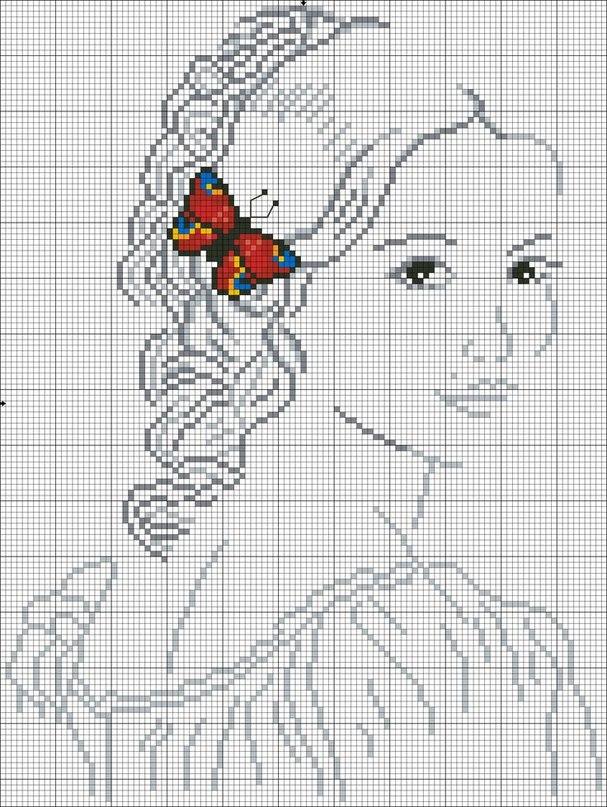Девушка-бабочка вышивка крестом
