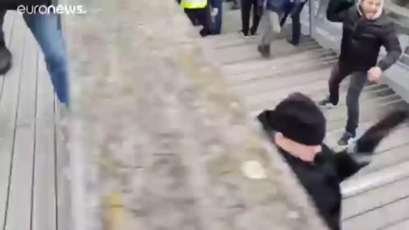 Экс-чемпион Франции по боксу в уличной драке против полицейских.