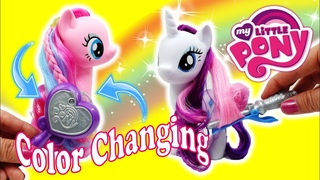 Rarity and Pinkie Pie Sleepover Makeover - Magical Salon Color Changing Hair