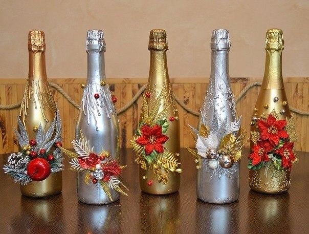 Как украсить шампанское на новый год 2017