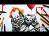 Dibujando a IT - Pennywise Fan Art con Lapices de Colores. Drawing Pennywise IT with pencil colors