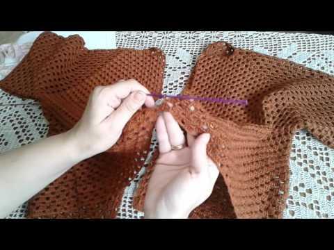 Кардиган из шестиугольников. Часть 3. Соединяем две детали, рукава. Knitting womens cardi