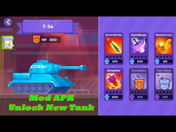 Tank Stars Mod Apk - Unlock T - 34 Tank and upgrade MAX level