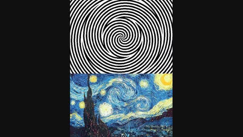 Фиксируй взгляд 10 секунд на белой точке Затем смотрите на Звездную ночь Ван Гога внизу Сколько секунд картина движется в лс