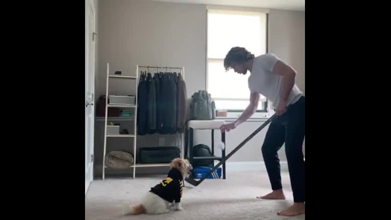 Панарин готовится к серии против Бостона со своим псом