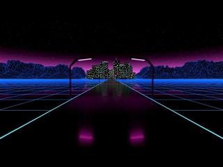 Retro neon road
