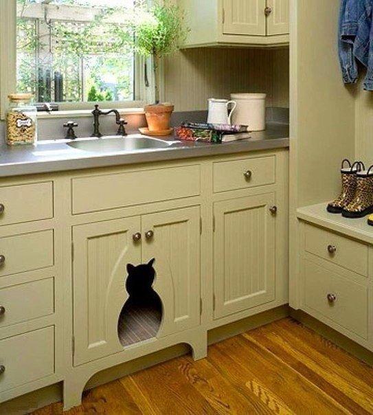 Кухня, на которой есть место для кота. (1 фото) - картинка
