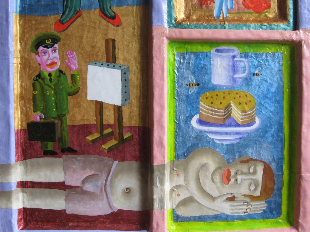 Дмитро Молдованов, ВІКНО, 2013, фрагмент, віконна рама, полотно, олія, акрил