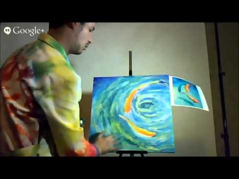 Алексей Шандин «Гранд живопись 2014». Живопись пальцами. «Золотые рыбки» по мотиву Айрис Скотт