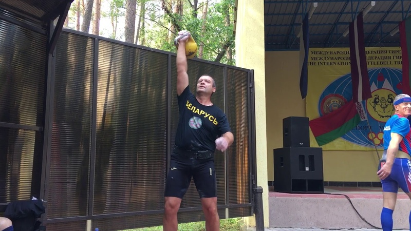 Ревин Александр Гиревой марафон 16 кг Толчок по длинному циклу 1007 раз 8 09 18