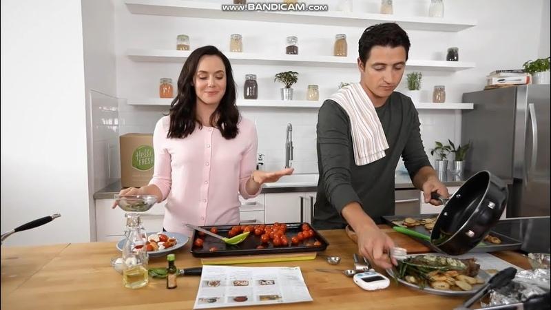 Tessa Virtue and Scott Moir cooking with HelloFresh