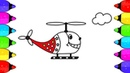 Helicopter Coloring pages | SURPRISE Helicopter Coloring and Drawing for Children