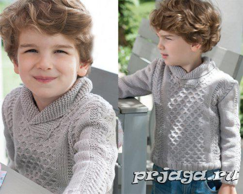 Пуловер спицами для мальчика (2 фото) - картинка