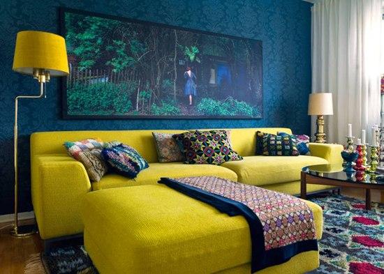 Желто синее сочетание в мебели
