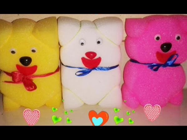 How to make a sponge teddy bear simple sponge doll craft for kids