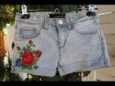 Шорты из старых джинс.Украшение вышивкой.  DIY. Handmade.How to make jeans into shorts