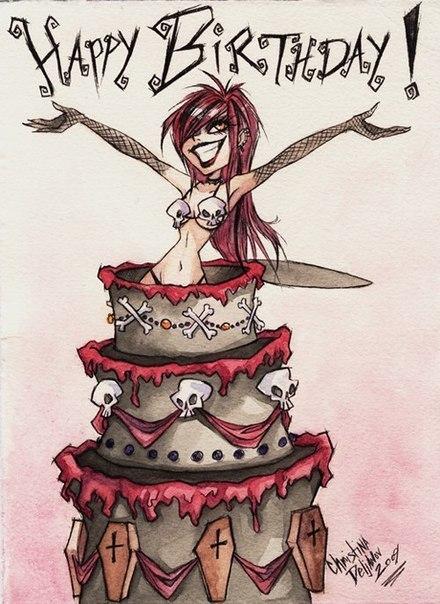 Днем рождения, открытки готические с днем рожденья или рождения