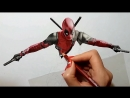 3D Colored Pencil Drawing of Deadpool Speed Draw Jasmina Susak