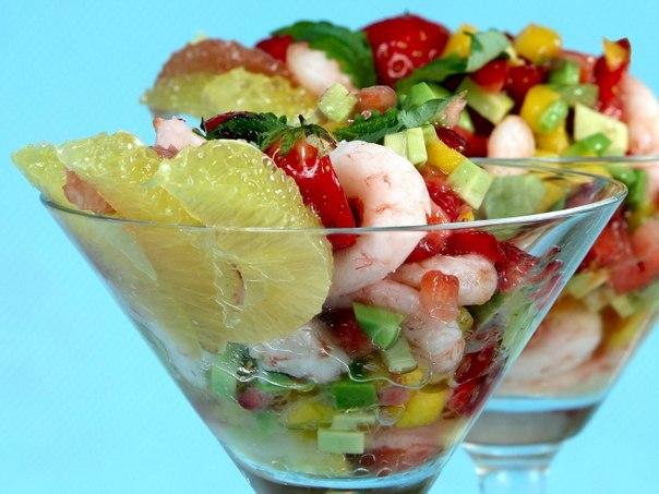 Фото рецепты салатов-коктейлей с креветками