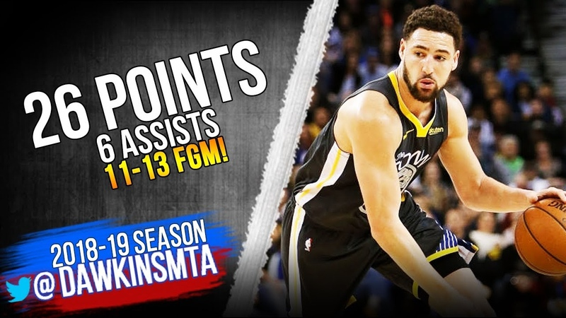 Klay Thompson Full Highlights 2019.02.06 Warriors vs Spurs - 26 Pts, 6 Asts, 11-13 FGM!