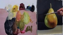 Painting a pear with oil colors.