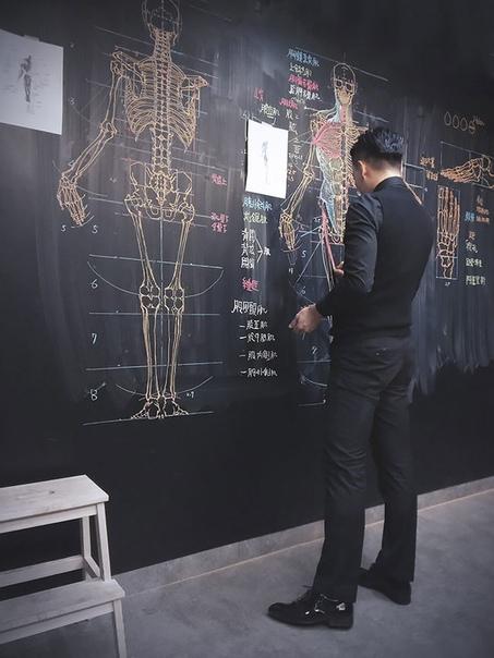 Познакомьтесь с талантливым учителем и практически живописцем Бен-Цюань Чанг, который рисует для своих учеников невероятные анатомические скетчи на доске После того как снимки его рисунков