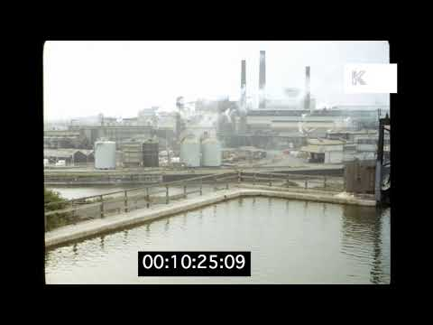 1970s UK Factory, Smoking Chimneys, Industry