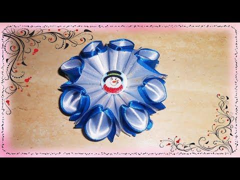Зефирка канзаши из ленты 5 см для начинающих МК Marshmallow kanzashi ribbon 5 cm for beginners