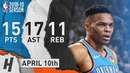 Russell Westbrook Full Highlights Thunder vs Bucks 2019.04.10 - 15 Pts, 17 Ast, 11 Reb!